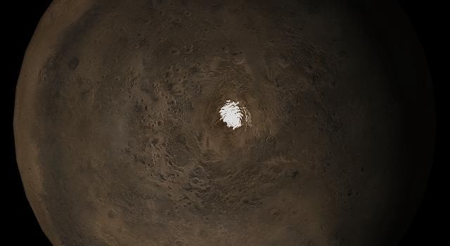 NASA's Mars Global Surveyor shows the south polar region of Mars in mid-November 2005.
