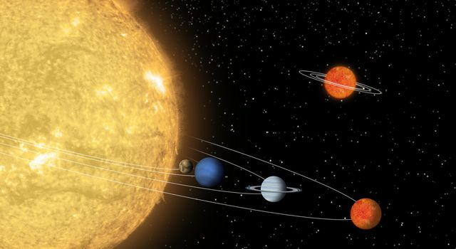 Artist's concept compares a hypothetical solar system centered around a tiny 'sun' to a known solar system centered around a star 55 Cancri.