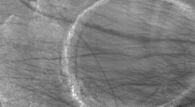 NASA's Mars Global Surveyor shows trough formed of coalesced collapse pits in the Tractus Catena region of northern Tharsis, Mars.