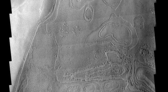 This image shows part of the south polar region on Mars. The ejecta from the relatively young crater covers the rougher textured polar surface as seen by NASA's 2001 Mars Odyssey spacecraft.