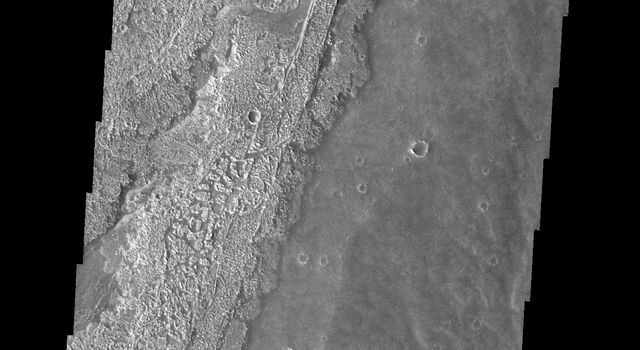 These relatively young lava flows are part of Arsia Mons on Mars as seen by NASA's 2001 Mars Odyssey spacecraft.
