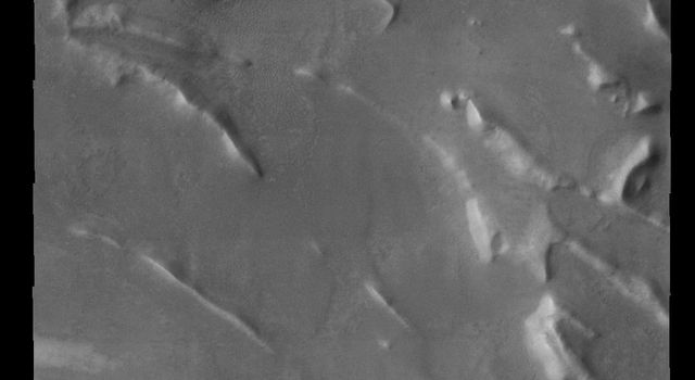 This ridge system is located in the south polar region on Mars as seen by NASA's 2001 Mars Odyssey spacecraft.