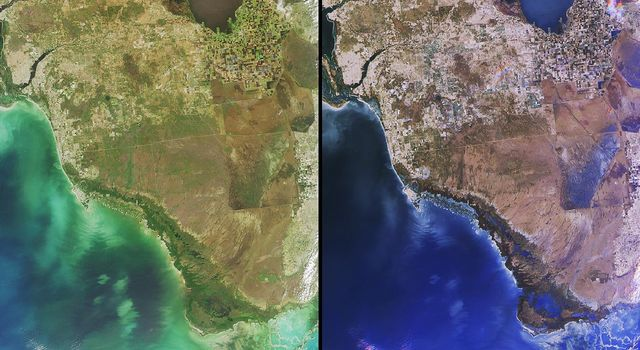 Florida's Everglades is a region of broad, slow-moving sheets of water flowing southward over low-lying areas from Lake Okeechobeeto the Gulf of Mexico. These images fromNASA's Terra satellite show the Everglades region on January 16, 2002.