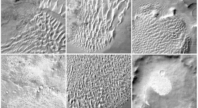 This collage of six images taken by NASA's Mars Odyssey spacecraft, shows examples of the daytime temperature patterns of Martian dunes.