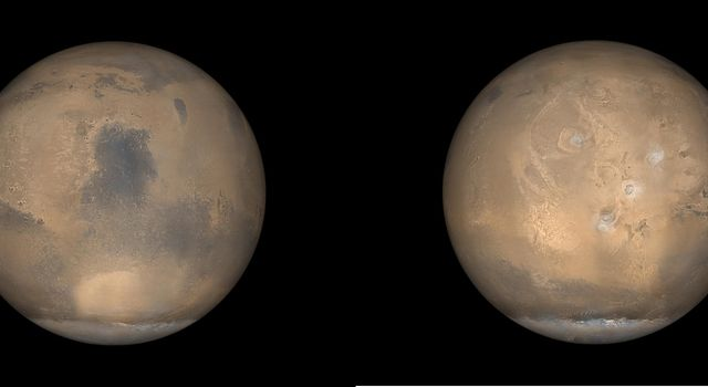 NASA's Mars Global Surveyor shows examples of what Mars looks like in late northern summer, which is also late southern winter. At this time of year, the south polar cap is very large.