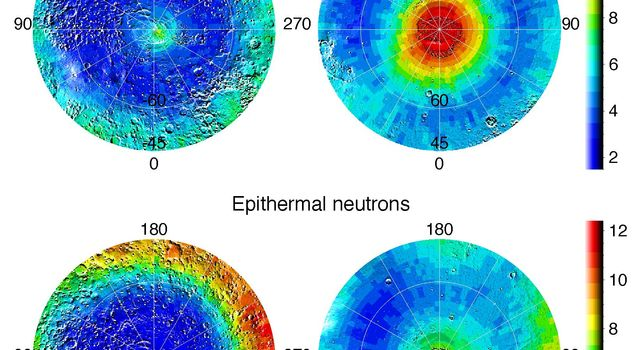 Observations by NASA's Mars Odyssey spacecraft show views of the polar regions of Mars in thermal neutrons (top) and epithermal neutrons (bottom). In these maps, deep blue indicates a low amount of neutrons and red indicates a high amount.