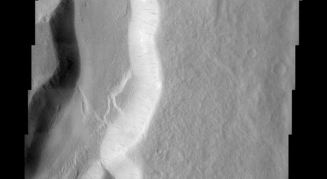 One of the many branches of the Mangala Vallis channel system is seen in this image from NASA's Mars Odyssey spacecraft. The water that likely carved the channels emerged from a huge graben or fracture almost 1000 km to the south.