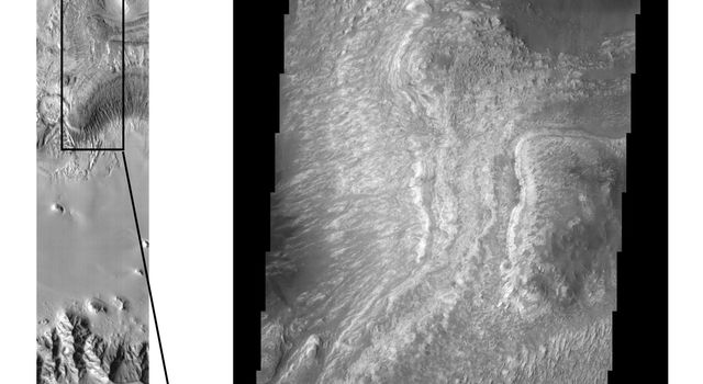 These NASA Mars Odyssey images show layered deposits located on the floor of Ganges Chasma, part of the Valles Marineris canyon system, in both infrared (left) and visible (right) wavelengths.