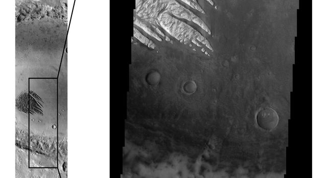 These Mars Odyssey images show the 'White Rock' feature on Mars in both infrared (left) and visible (right) wavelengths. 'White Rock' is the unofficial name for this landform that was first observed during NASA's Mariner 9 mission in the early 1970's.