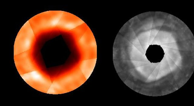 These composite images of Jupiter's north polar region from NASA's Hubble Space Telescope (right) and the Infrared Telescope Facility (left) show a quasi-hexagonal shape that extends vertically from the stratosphere down into the top of the troposphere.