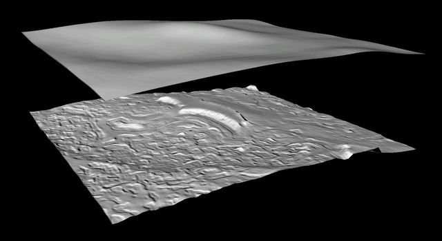 NASA's Mars Global Surveyor shows a shaded relief model derived from the MGS MOLA gridded topography for a small part Mars' polar cap.