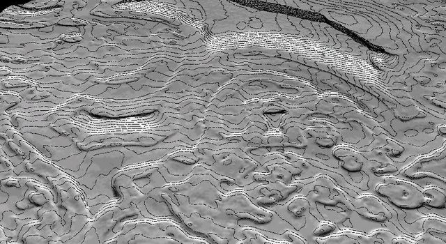 NASA's Mars Global Surveyor shows a 50-cm contour map of part of Mars' south polar ice cap. The region shown is roughly a kilometer on a side. The shaded relief model is shown with a tenfold vertical exaggeration.