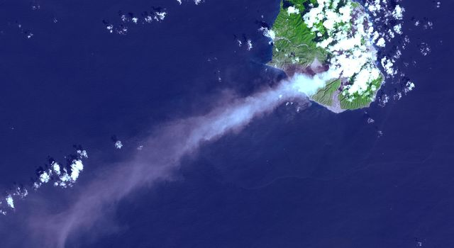 This image was acquired on October 29, 2002 by NASA's Terra satellite of the Soufriere Hills volcano on Montserrat in the Caribbean.
