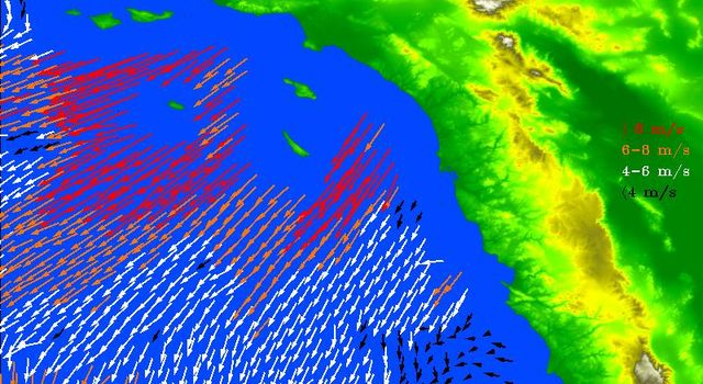 High-resolution ocean surface wind data from NASA's Quick Scatterometer (QuikScat) illustrate the strength of Santa Ana winds that pounded Southern California in 2003.