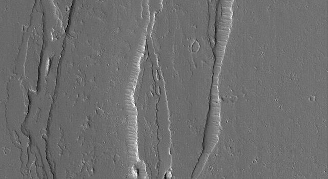 NASA's Mars Global Surveyor shows a small portion of a broad, shallow channel system located on the plains northeast of Olympus Mons on Mars.
