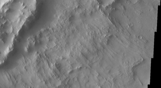 This image from NASA's Mars Odyssey spacecraft shows that dust avalanches, also called slope streaks, occur on many Martian terrains. This region of dust avalanches is located in and around a crater to the west of Tikhonravov Crater.