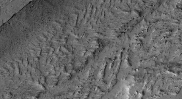 NASA's Mars Global Surveyor shows a portion of the enigmatic valley of the Olympica Fossae region of Mars. Unknown is whether water, lava, or mud, or some combination of these things, once poured through the valley system.