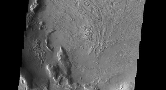 This image from NASA's Mars Odyssey shows a crater on Mars infilled by a material that likely contains volatiles. The linear to swirled surface marking indicate the fill flowed as it was filling the crater interior.