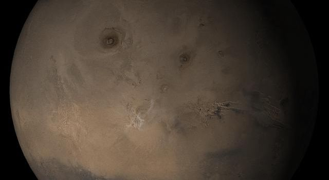 NASA's Mars Global Surveyor shows the Tharsis face of Mars in mid-August 2005.