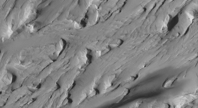 NASA's Mars Global Surveyor shows a dust-mantled, wind-eroded landscape in the Medusae Sulci region of Mars.