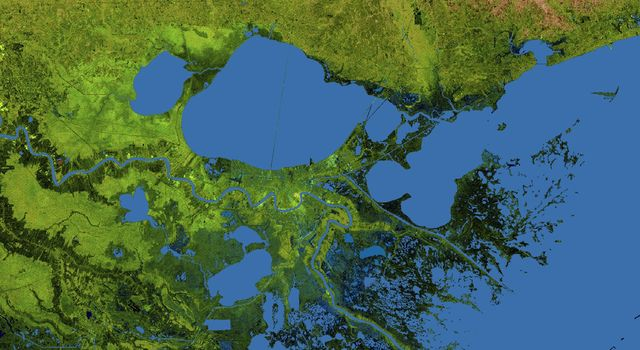 The geography of the New Orleans and Mississippi delta region is well shown in this radar image from NASA's Shuttle Radar Topography Mission. In this image, bright areas show regions of high radar reflectivity, such as from urban areas.