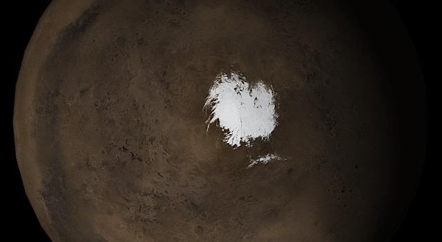 NASA's Mars Global Surveyor shows the south polar region of Mars in mid-August 2005.