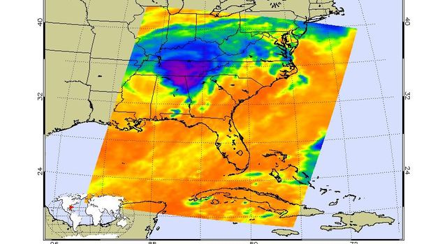 Infrared image of Hurricane Katrina captured by the Atmospheric Infrared Sounder onboard NASA's Aqua satellite in August, 2005.