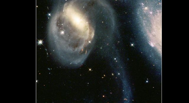 In the image from NASA's Hubble Space Telescope, angelic figures take on the form of the galactic group called Stephan's Quintet.