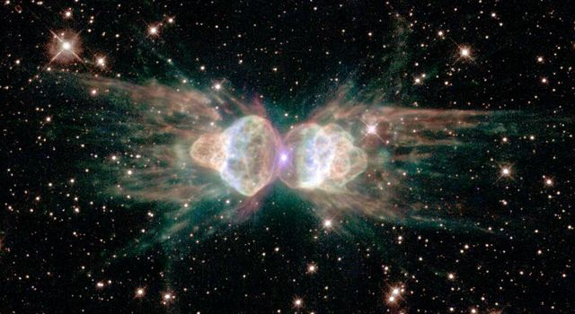 This image from NASA's Hubble Space Telescope is of a celestial object called the Ant Nebula and may shed new light on the future demise of our Sun.