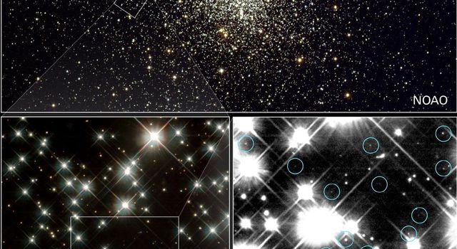 Peering deep inside a cluster of several hundred thousand stars, NASA's Hubble Space Telescope has uncovered the oldest burned-out stars in our Milky Way Galaxy, giving astronomers a fresh reading on the age of the universe.
