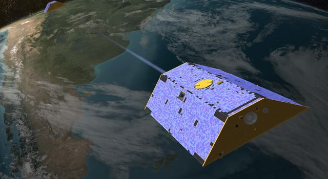 Illustration of the twin Gravity Recovery and Climate Experiment (GRACE) satellites in orbit.