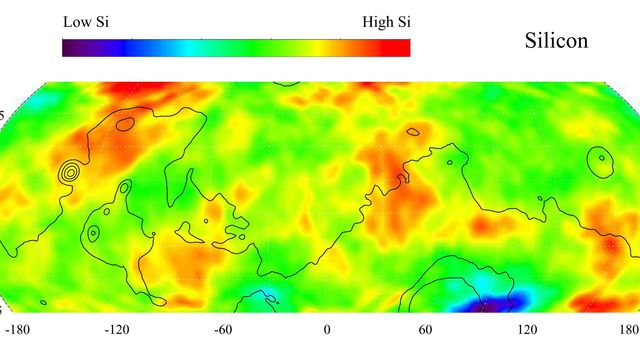 NASA's Mars Odyssey produced this gamma ray spectrometer map of the mid-latitude region of Mars is based on gamma-rays from the element silicon, one of the most abundant elements on the surface of both Mars and Earth.