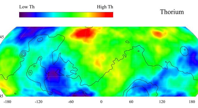 Thorium is a naturally radioactive element that exists in rocks and soils in extremely small amounts. The region of highest thorium content, shown in red on this gamma ray spectrometer map from NASA's Mars Odyssey, is in northern Acidalia Planitia.