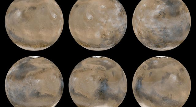 NASA's Mars Global Surveyor shows six global images acquired on February 14, 2003.
