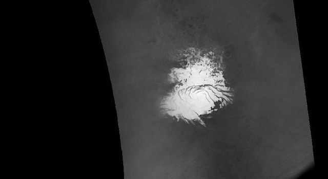 NASA's Mars Global Surveyor shows a view of the martian south polar region, as it appeared on 8 September 2005.