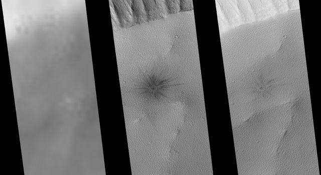 NASA's Mars Global Surveyor shows the southern rim of the summit crater, or caldera, of the intermediate-sized martian volcano, Ulysses Patera on Mars.