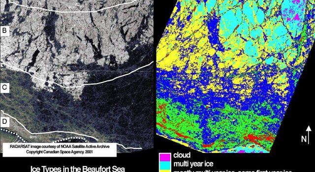 Sea ice in the Beaufort Sea off the north coast of Alaska was classified and mapped in these concurrent images acquired March 19, 2001 by NASA's Terra spacecraft.