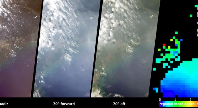 These  views from NASA's Terra spacecraft portray Houston and Galveston Bay on September 12, 2002, and display data from three of MISR's nine cameras along with a map of retrieved aerosol optical thickness.