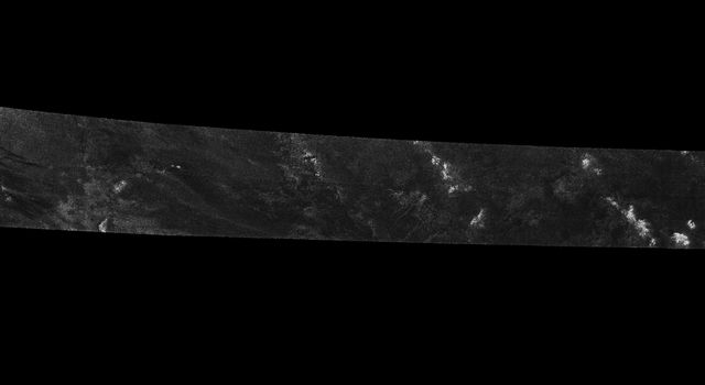 This image was obtained by NASA's Cassini radar instrument during a flyby on Dec. 12, 2006. North Polar Pass (Northern Lakes Region, Aaru).