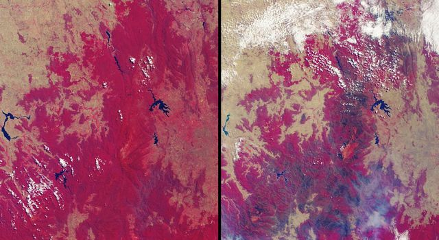 More than 2 million acres were consumed by hundreds of fires between December 2002 and February 2003 in southeastern Australia's national parks, forests, foothills and city suburbs as seen by NASA's Terra spacecraft.
