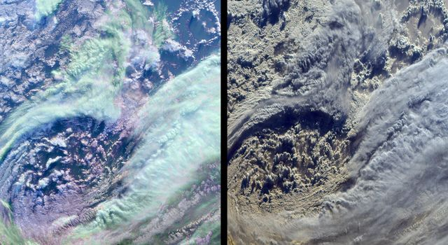 The complex structure and beauty of polar clouds are highlighted by these images acquired by NASA's Terra spacecraft on April 23, 2003. These clouds occur at multiple altitudes and exhibit a noticeable cyclonic circulation over the Southern Indian Ocean,