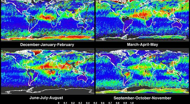 Global summaries of aerosol optical thickness from NASA's Terra spacecraft.