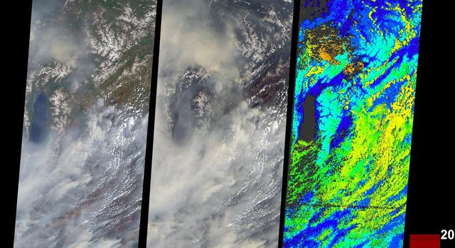 During the 2003 fire season, blazes in the taiga forests of Eastern Siberia were part of a vast network of fires across Siberia and the Russian Far East, northeast China and northern Mongolia seen here by NASA's Terra spacecraft.