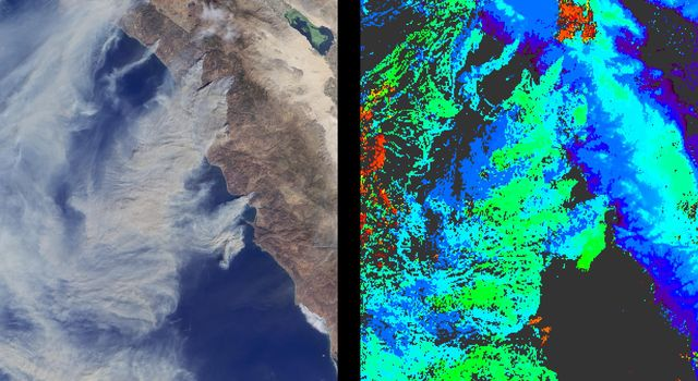 Large plumes of smoke rising from devastating wildfires burning near Los Angeles and San Diego on Sunday, October 26, 2003, are highlighted in this set of images from NASA's Terra spacecraft.