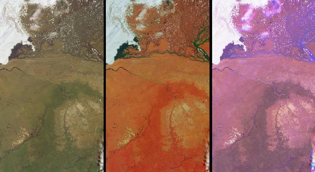 These views of the Russian Arctic were acquired by NASA's Terra spacecraft on July 11, 2004, when the brief arctic summer had transformed the frozen tundra and the thousands of lakes, channels, and rivers of the Lena Delta into a fertile wetland.