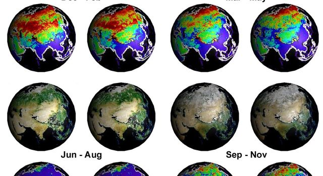 Seasonal changes in Earth's surface albedo over a 5-year period are seen in these image summary maps from NASA's Terra spacecraft.