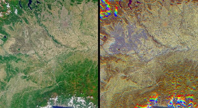 The lowlands of Lombardy and Piedmont in northwest Italy are some of the most highly developed irrigation areas in the world. These views of the region were acquired on May 8, 2005, by NASA's Terra spacecraft.