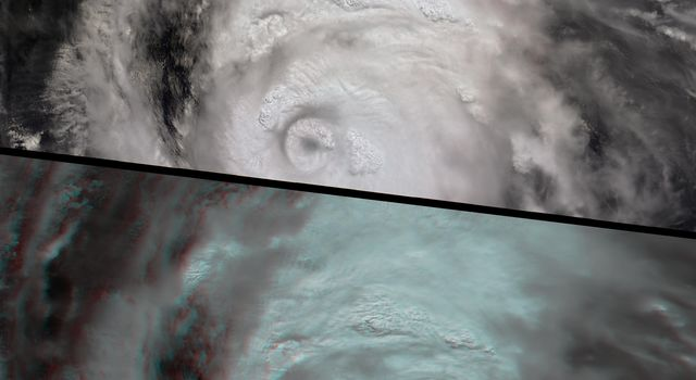 This anaglyph from the MISR instrument aboard NASA's Terra spacecraft shows the strong convective development of Hurricane Katrina as it moved west through the Gulf of Mexico. 3D glasses are necessary to view this image.