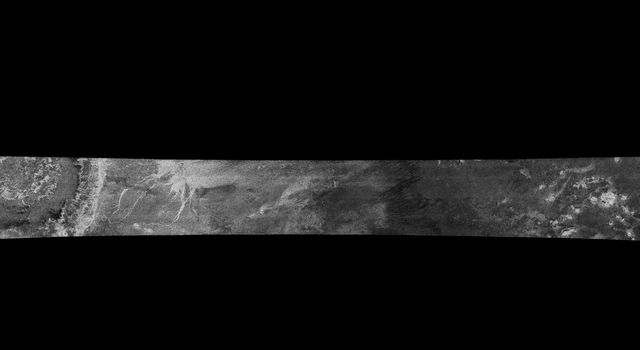 This image was obtained by NASA's Cassini radar instrument during a flyby on Feb. 15, 2005. The radar antenna was pointing toward Titan at an altitude of 1,577 kilometers (890 miles) during the closest approach.