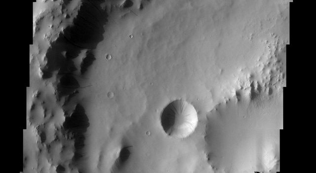 Accumulations of thick dust give way down slopes, crater walls, and other steep terrain in this image from NASA's Mars Odyssey, leaving the dark streaks that are common in the dusty region of Arabia Terra.